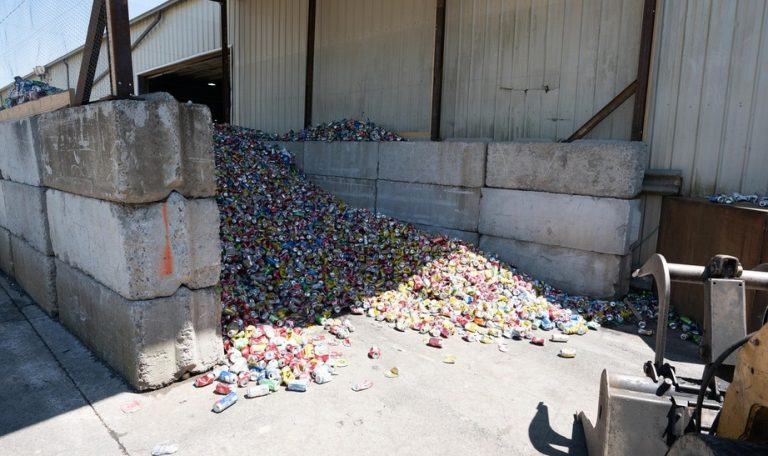 Aluminum cans waiting for processing at an East TN scrap yard near Knoxville TN.